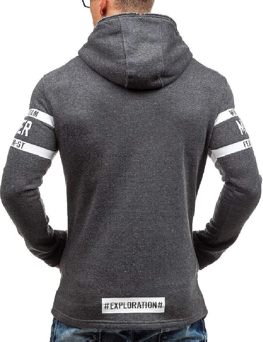 omniscient Mens Zipper Letter Coat Casual Hooded Outwear Sweatshirts