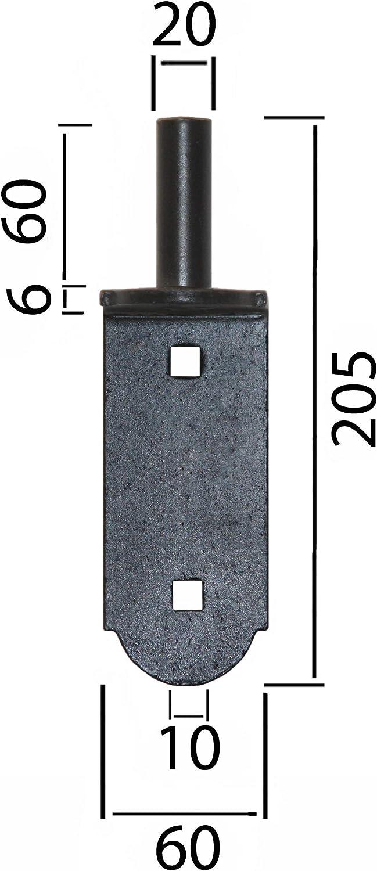 Plattenhaken Kloben Aufschraubkloben 14 mm Torkloben T/ürkloben Schwarz Pulverb.