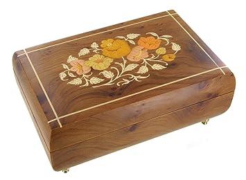 Caja de música para joyas / joyero musical de madera con bailarina y marquetería flores - La bella durmiente (P. I. Chaikovski): Amazon.es: Hogar