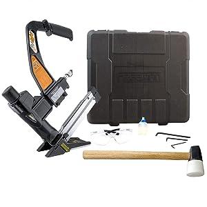 Freeman PFL618BR 3-in-1 Pneumatic Flooring Nailer Ergonomic & Lightweight Nail Gun for Flooring with Padded Grip Long Reach Handle & Interchangeable No-Mar Baseplates