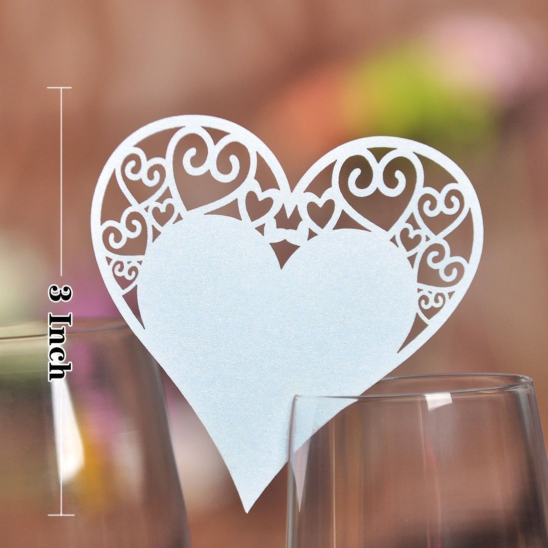 Lot de 50pcs Carte de Verre Marque Place Forme de Coeur d'Amour Décoration de Table (Blanc) Générique