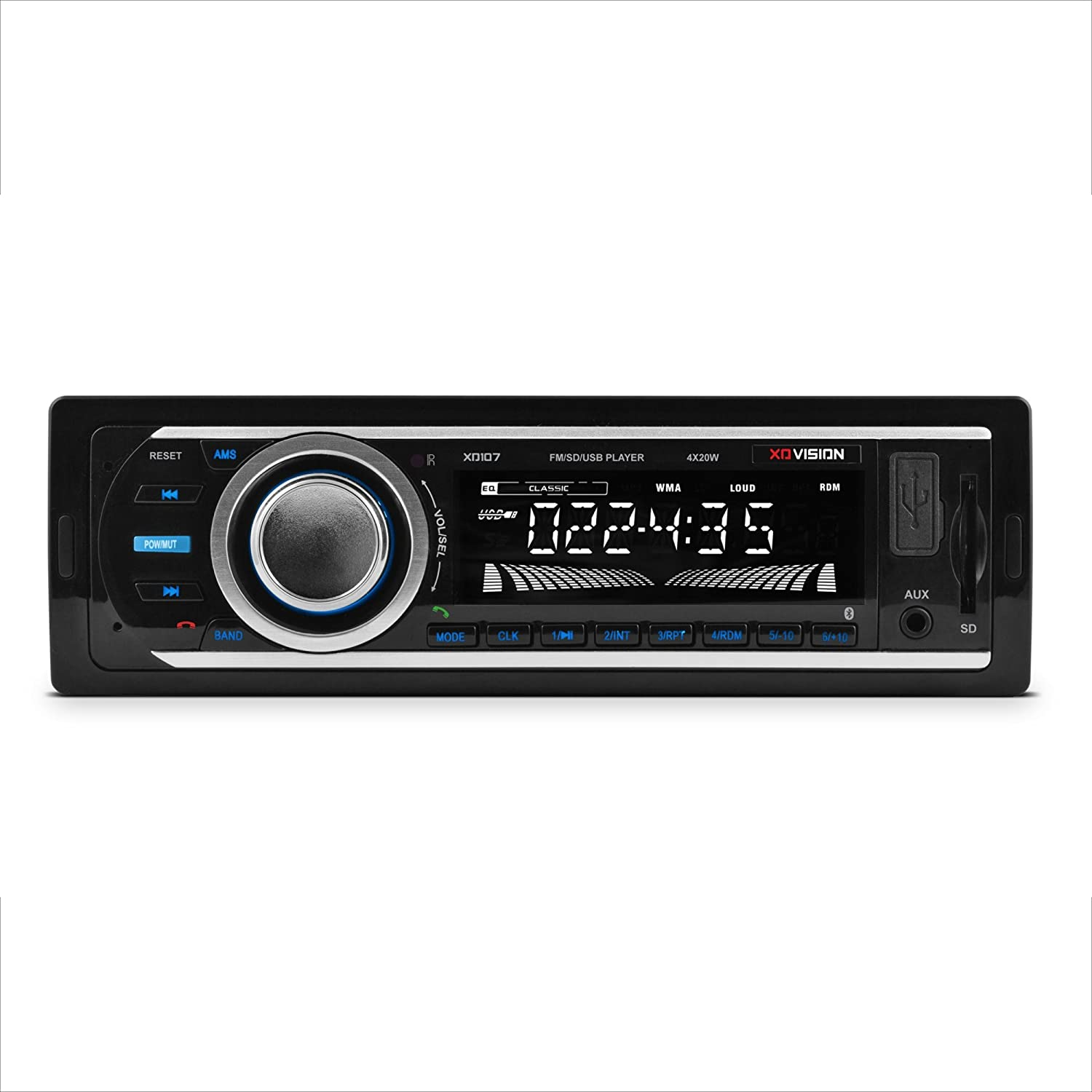 Car Stereo, XO Vision Wireless Bluetooth Car Stereo Receiver with 20 watts x 4, USB Port , SD Card Slot, and MP3 and FM [ XD107 ]