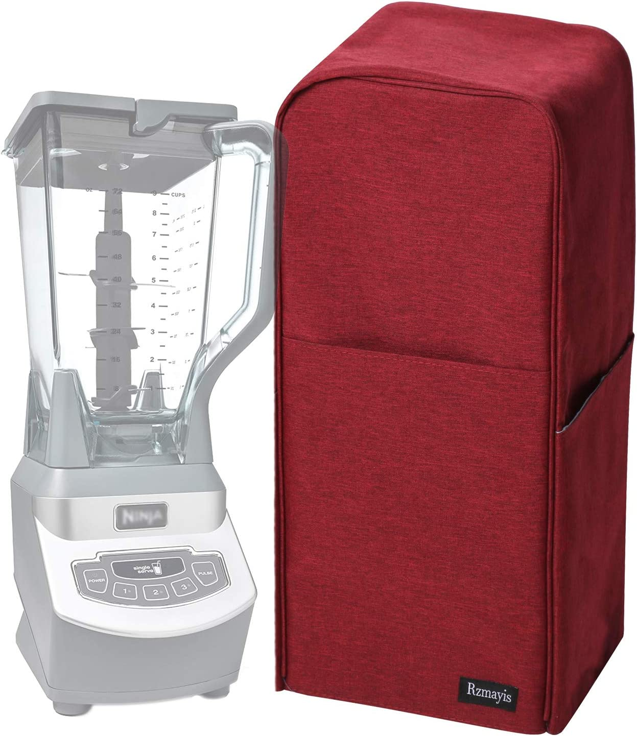 Blender Dust Cover with Accessory Pocket Compatible with Ninja Foodi (Medium, Dark-red)