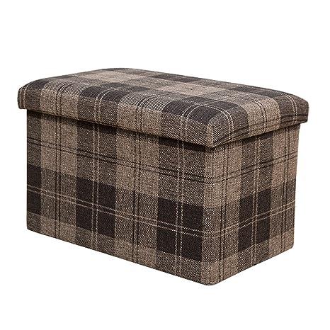 Stupendous Amazon Com Dasior Collapsible Cube Storage Ottoman Plaid Machost Co Dining Chair Design Ideas Machostcouk