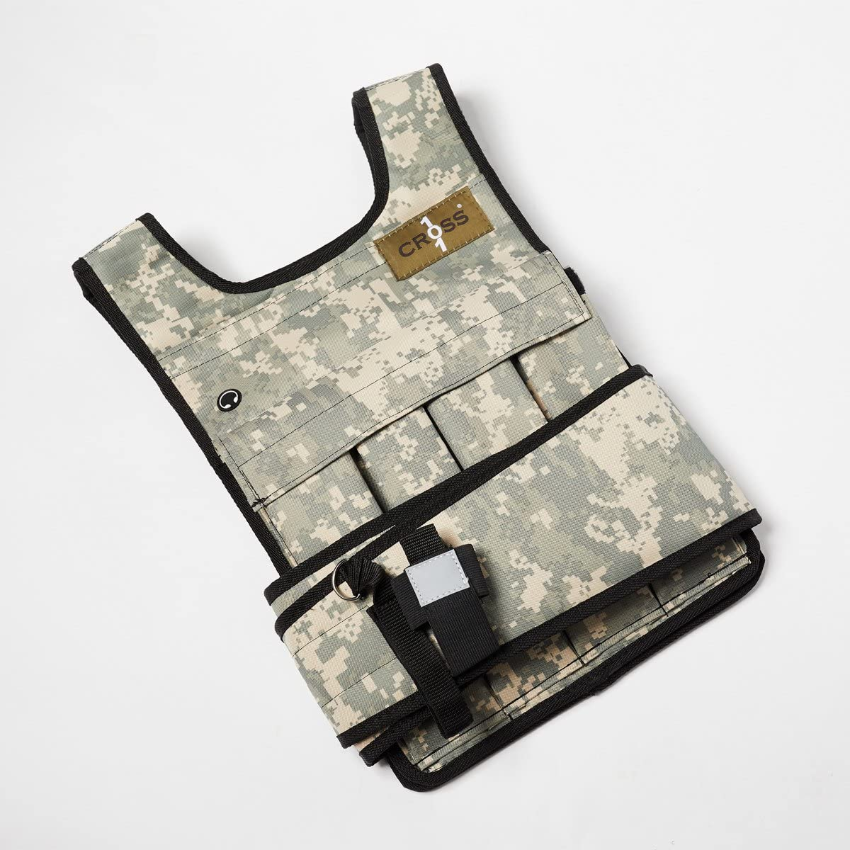CROSS101 20lbs Camouflage Adjustable Weighted Vest with Phone Pocket Water Bottle Holder