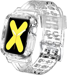 Morning Tree Compatible for Apple Watch Bands Case 38mm/40mm/42mm/44mm for Men & Women, Crystal Clear Protect Sports Wristband Bangle Strap iWatch Series 5 4 3 2 1 (Transparent, 38mm/40mm)