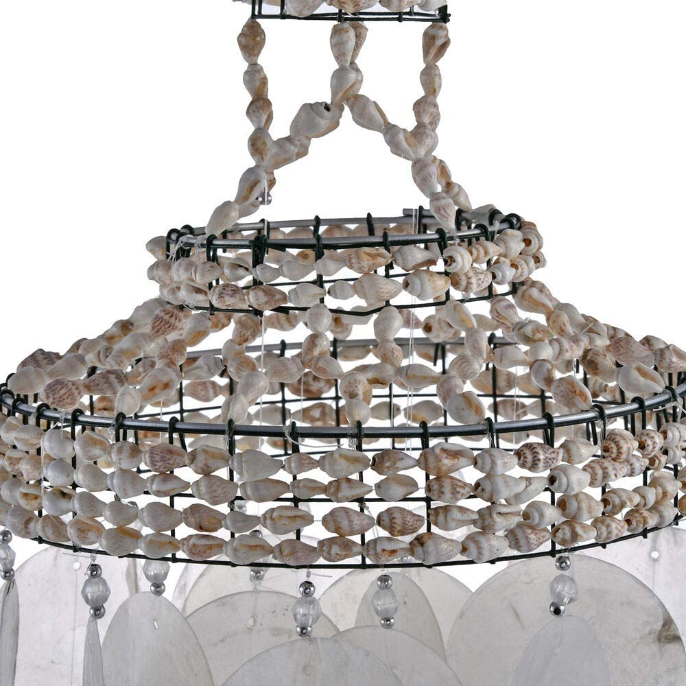 Size 50x15 Cm ,Easily Hanged on the Ceiling or Windows TJC White Seashell Decorative Light-Weight Wind Chime