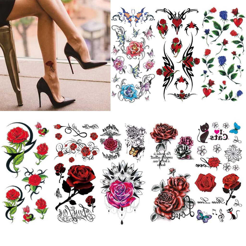 CARGEN 8 Sheets Sexy Flower Temporary Tattoos Sexy Tattoos for Women Sexy Cover Up Makeup Fake Tattoo Body Art Sticker Waterproof For Legs Thighs Chest Hips