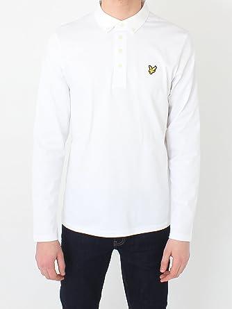 Lyle & Scott Manga Larga Tejido Cuello Polo Camisa Blanca ...