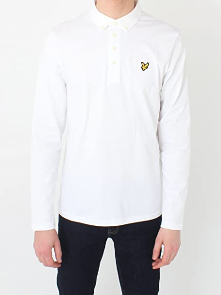 Lyle & Scott Manga Larga Tejido Cuello Polo Camisa Blanca Small ...