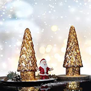 Mercury Glass Christmas Tree, 2-Pack Lighted Xmas Tree Decorations, Holiday Centerpiece Battery Operated LED with Timer, Decorative for Tabletop Window Mantel Display Party Indoor Home Decor (Brown)