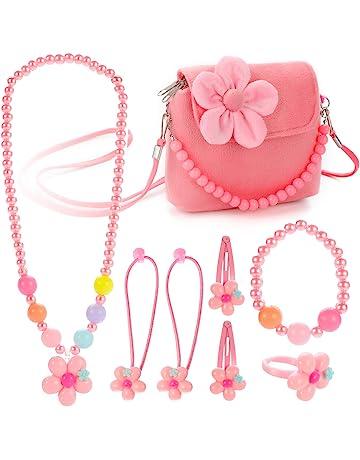 5b353efdb Hifot Kids Jewelry Little Girls Plush Handbag Necklace Bracelet Ring Hair  Clips Set, Costume Jewelry