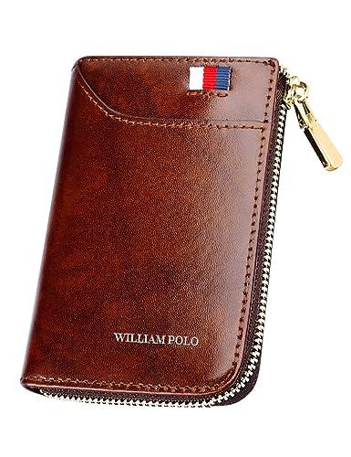 9cbcd1fa8f17 WILLIAMPOLO 財布 メンズ 本革 カードケース コンパクト 人気 ブランド 大容量 多機能 185128 (