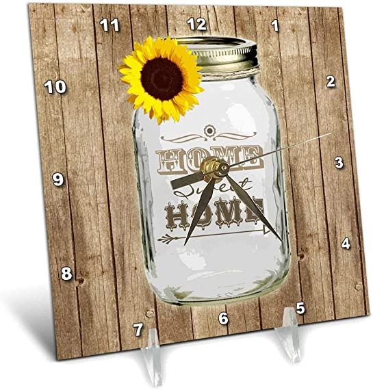 3dRose dc_128555_1 Country Rustic Mason Jar with Sunflower Home Sweet Home Desk Clock, 6 by 6-Inch