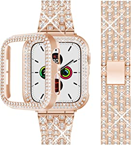 Beuxece Bling Band Compatible with Apple Watch Band + Shining Case 38mm/40mm/42mm/44mm, iWatch Series 5/4 3/2/1 band, Metal Jewelry Rhinestone Diamond Bracelet Wristband Strap Replacement for Women, Rose Gold(40mm)