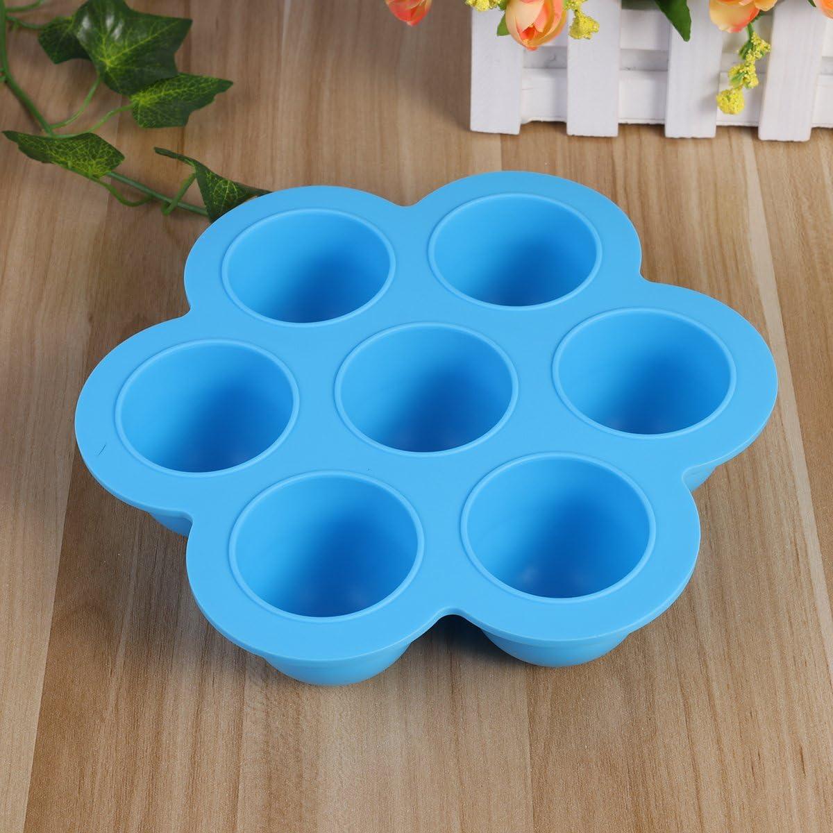 7 cavit/és Plateaux de cong/élateur des conteneurs de stockage des aliments pour b/éb/é r/éutilisables en silicone BESTOMZ Plateaux de stockage des aliments avec des clips sur le couvercle bleu ciel