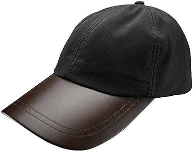 Mens Deluxe Leather Peak Waxed Cotton Baseball Cap  332fae677fa6