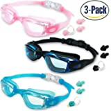 MOTOEYE Kids Swim Goggles Pack of 3,Swimming Glasses for Children and Early Teens,Boys and Girls from 3 to 15 Years Old,with Anti-Fog UV Protection Lenses,No Leak Waterproof Design