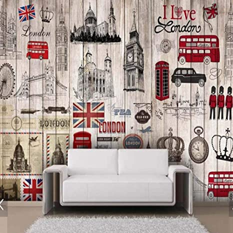 BIZHIGE Vintage Holzboden Uk London Tapete Wandbild Große ...