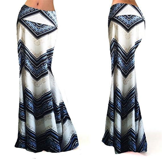 Hibote Mujer Largas Faldas Cintura Alta Slim Fit Elegantes Vintage Classic  Rayas Moda Casual Falda Larga Faldas S-3XL  Amazon.es  Ropa y accesorios dad775b9ac9a