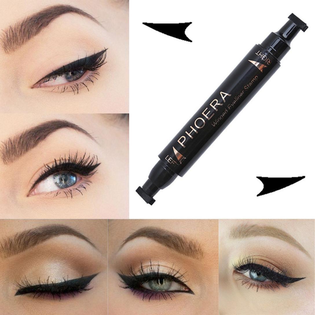 Snowfoller Eyeliner,Double-head Waterproof Long Lasting Eyeliner Pen Wing Eyeliner Stamp Tool For Not Blooming Eye Makeup - Liquid