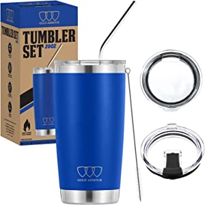 Gold Armour 20 oz Tumbler - 5 Piece Stainless Steel Insulated Water & Coffee Cup Tumbler with Straw, 2 Lids, Straw Cleaner - 18/8 Double Vacuum Insulated Travel Flask (Blue)