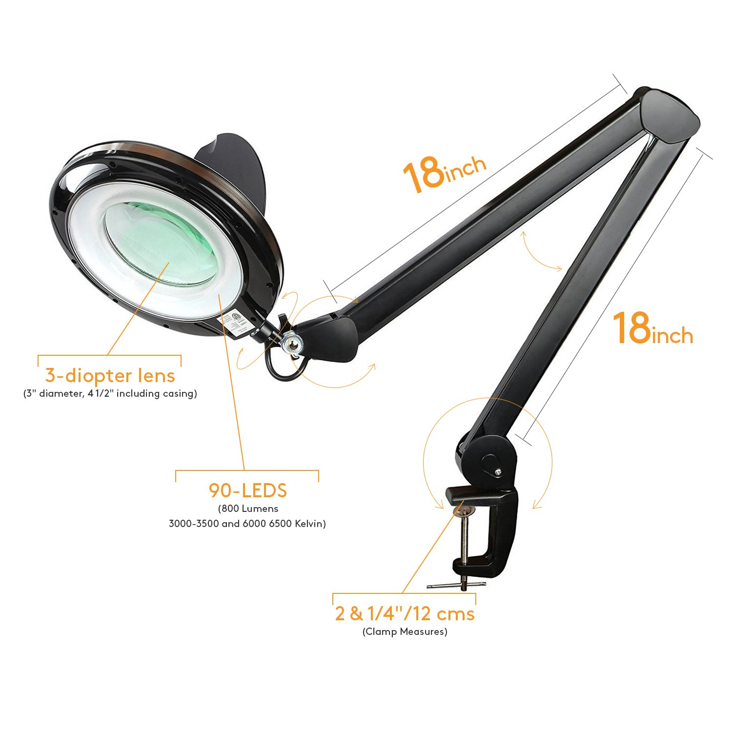 Brightech LightView PRO LED Magnifying Clamp Lamp - Daylight Bright Magnifier Lighted Lens – Dimmable with Adjustable Color Temperature Utility Light for Desk Table Task Craft or Workbench –black by Brightech (Image #10)