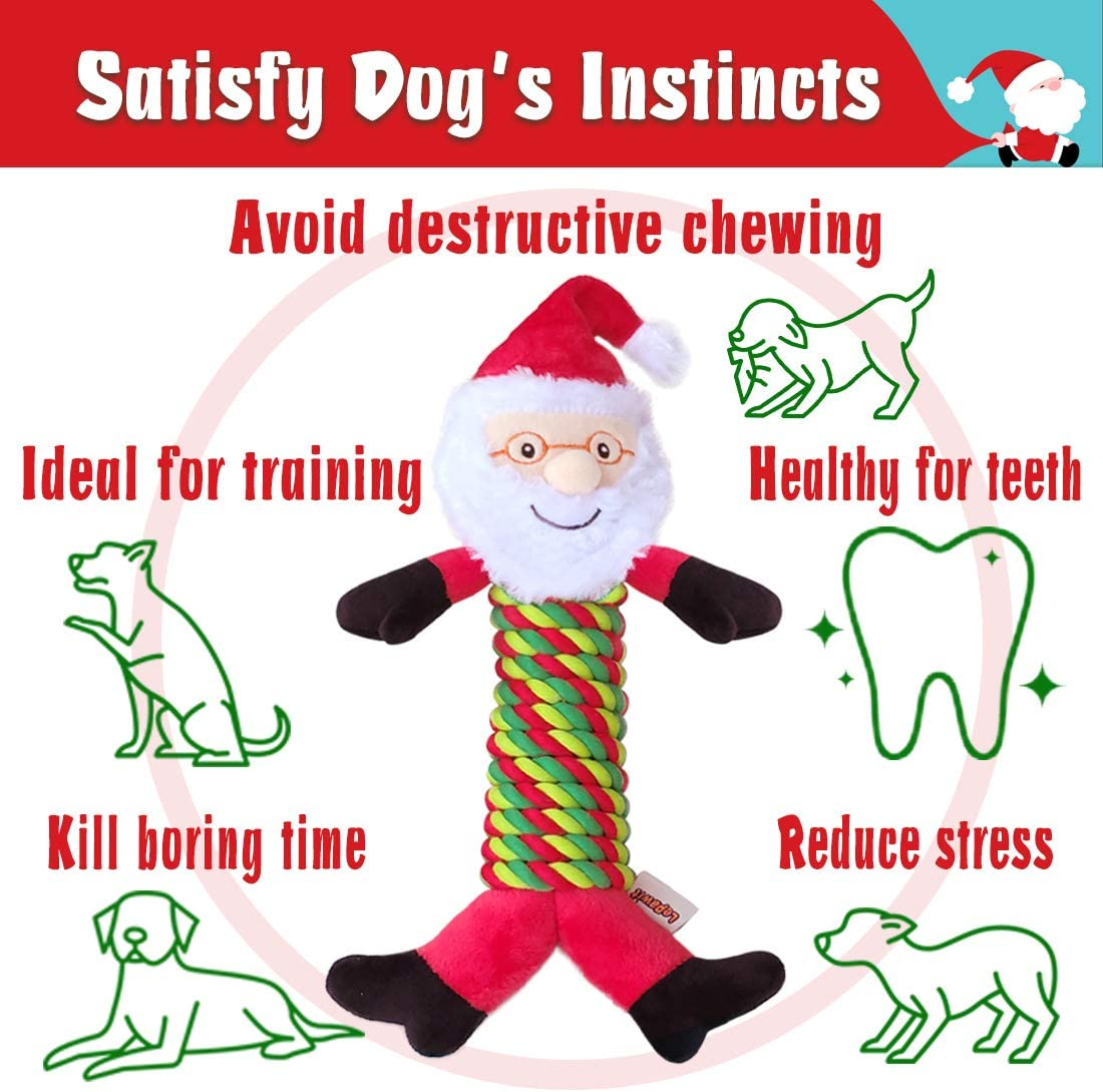 Large Dogs Sturdy Rope Squeaky Toy for Dogs Santa Claus Design Interactive Stuffed Dog Chew Toy for Medium 3 Pack with Two Tennis Balls for Outdoor Activity Lepawit Christmas Dog Plush Toy