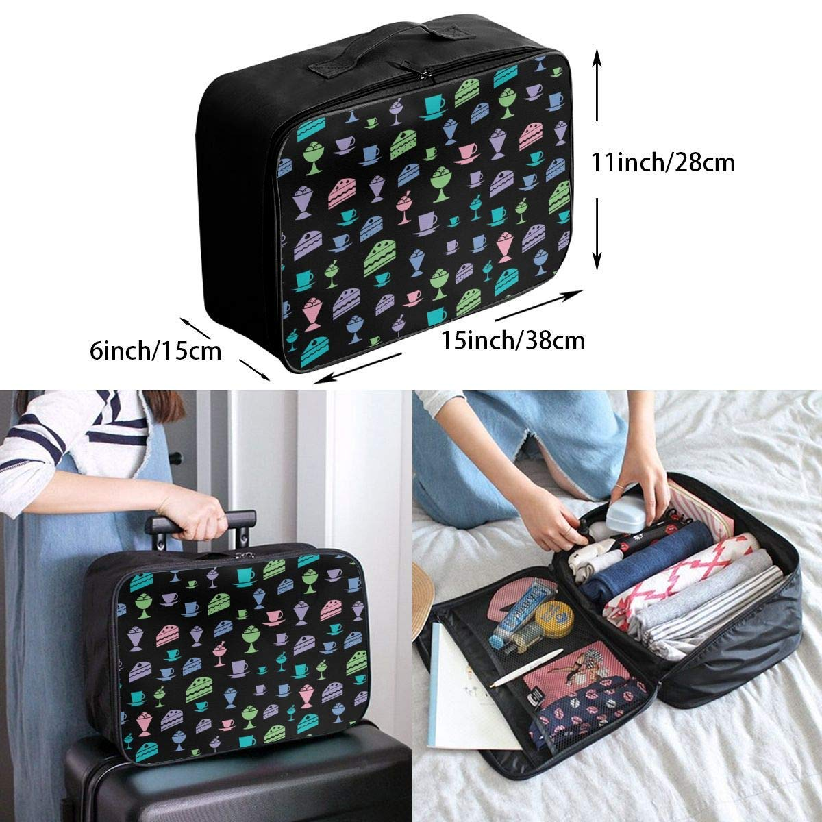 JTRVW Luggage Bags for Travel Lightweight Large Capacity Portable Duffel Bag for Men /& Women Colorful Cake Travel Duffel Bag Backpack