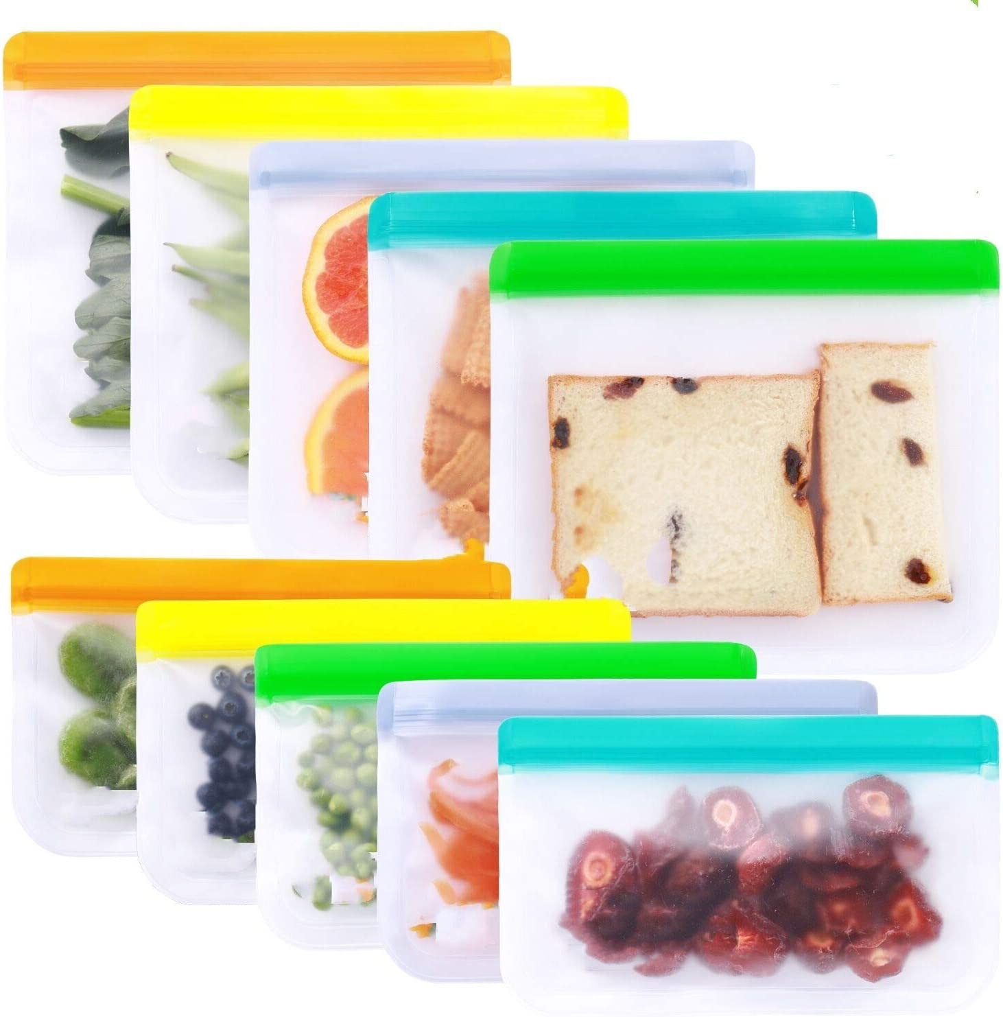 Reusable Storage Bags - 10 Pack BPA FREE Freezer Bags(5 Reusable Sandwich Bags + 5 Reusable Snack Bags) Leakproof Lunch Reusable Bags for Home Kitchen Travel Organization Food Marinate Fruit Cereal