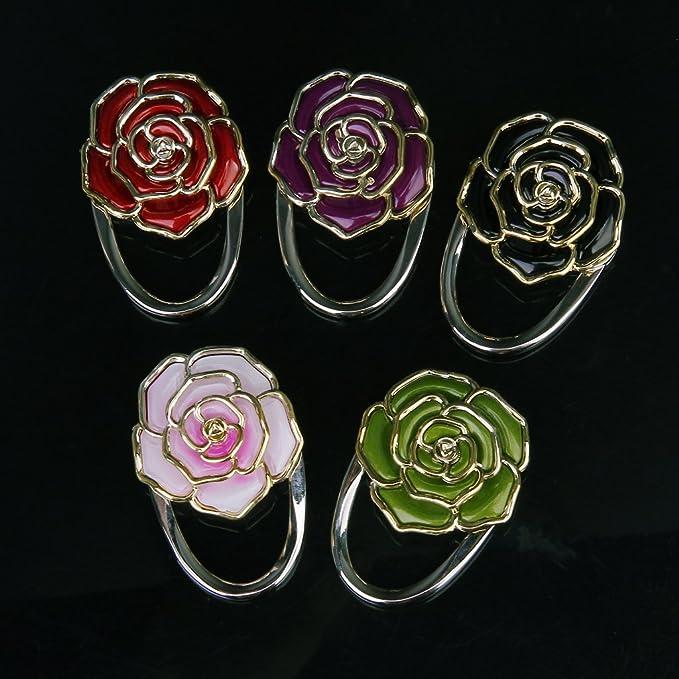 TOOGOO R Noir Crochet Support de Sac a Main Pliant Durable en Forme de Fleur de Rose