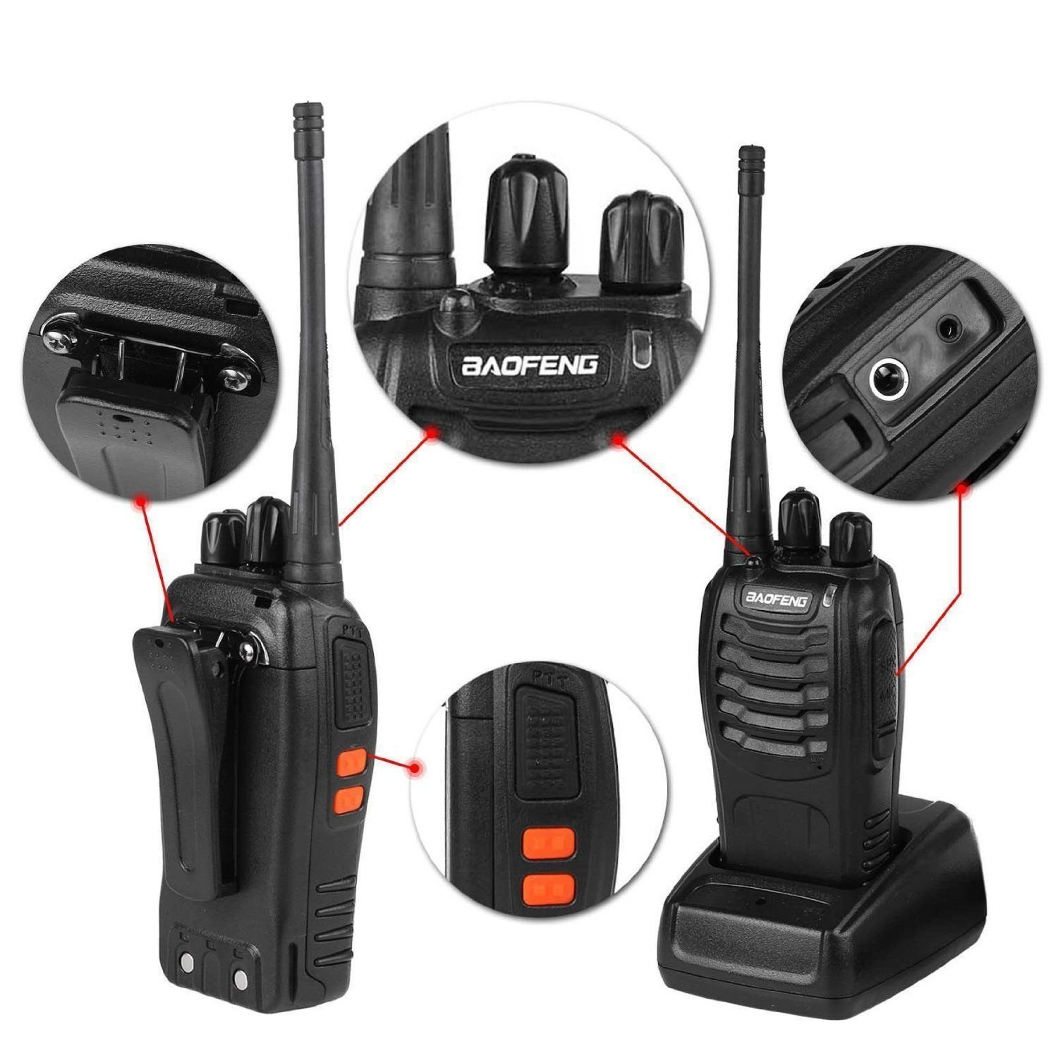 Baofeng BF-888S Rechargeable Long Range 5W Two Way Radio Walkie Talkies 16 Channel Handheld Radio Built in LED Torch Microphone With Earpiece(Pack of 10) 10 Pack by Baofeng (Image #2)