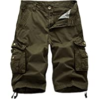 FOURSTEEDS Women's Cotton Casual Zipper Multi-Pockets Twill Bermuda Drawstring Women Cargo Shorts Army Green US 8