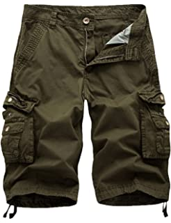 4a0979570b FOURSTEEDS Men's Cotton Loose Hiking Multi-Pockets Twill Bermuda Drawstring  Camping Cargo Shorts