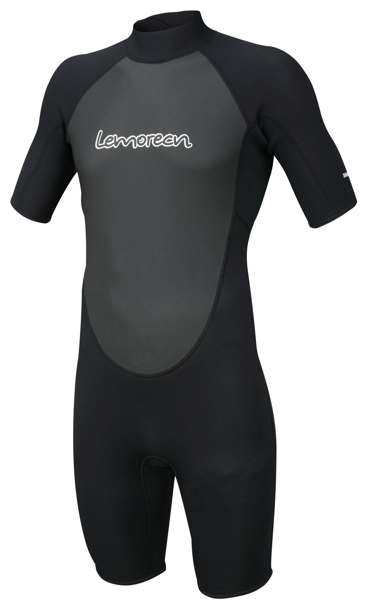 Lemorecn Wetsuits Mens Neoprene 3mm Shorty Diving Suit(3036black-3XL) by Lemorecn (Image #1)