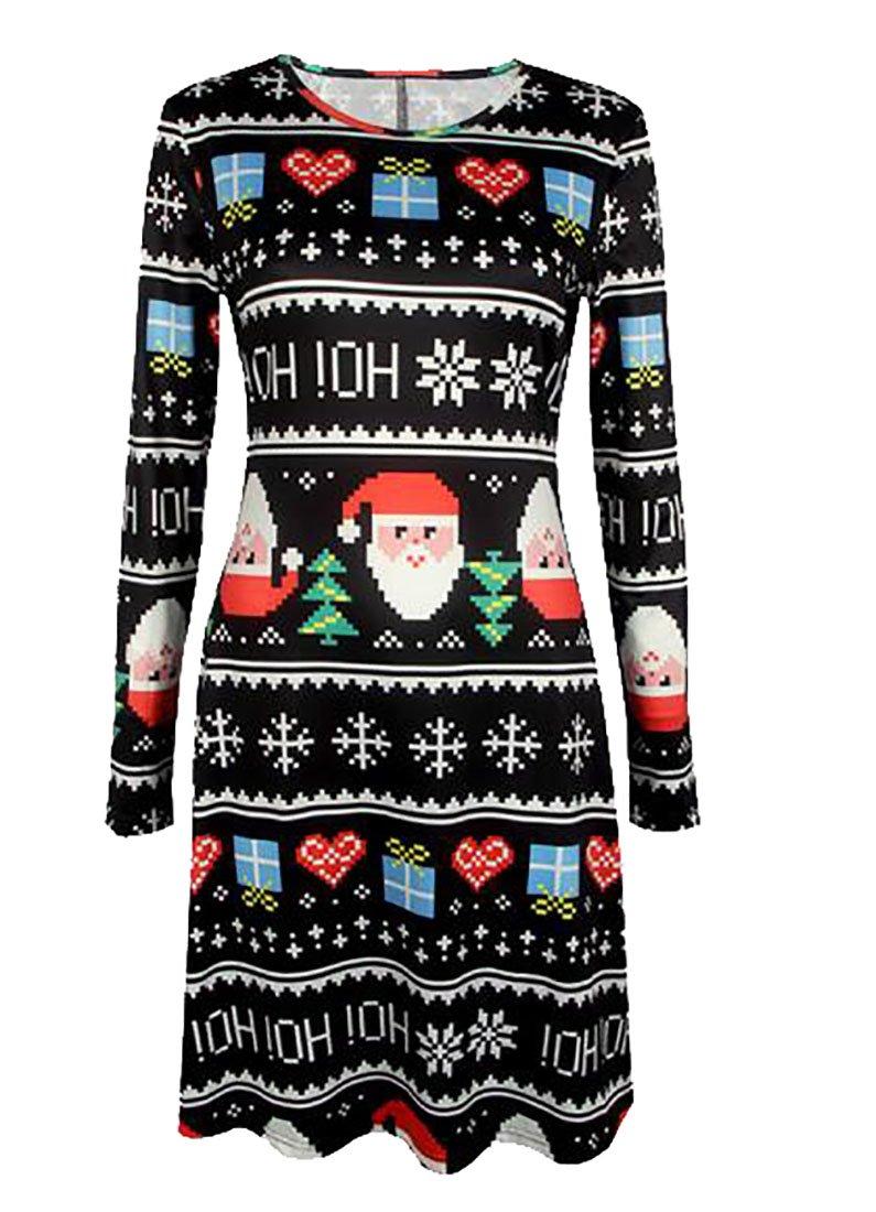 GRMO-Women Christmas Print Long Sleeve T-Shirt Dress Casual Party Evening Dress
