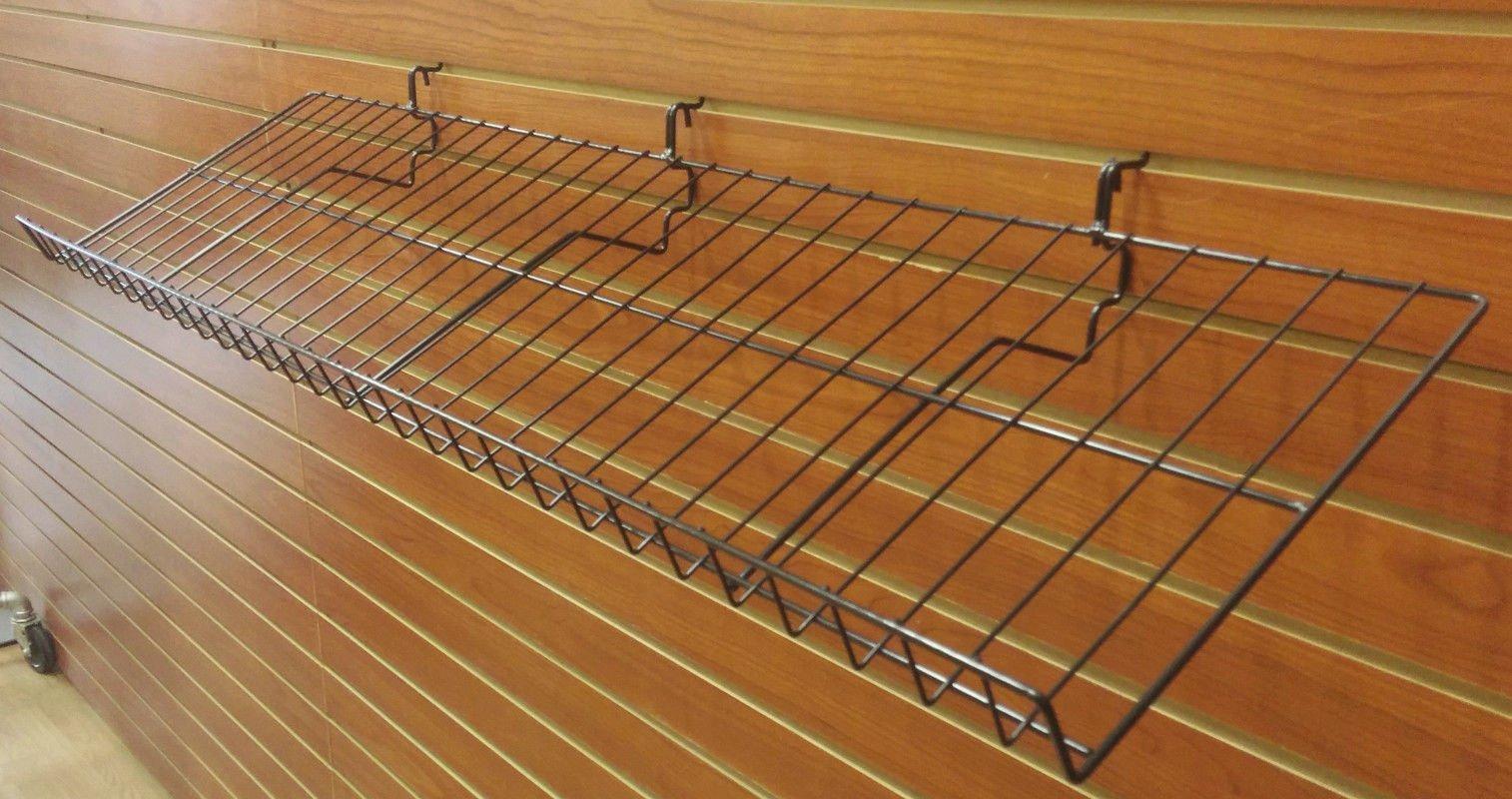 Slatwall, Pegboard, Gridwall Slanted Angled POP Retail Display Candy Shelf - 6'' D x 46'' L - 5 Pack