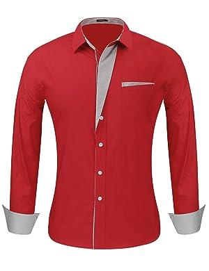 Hasuit Men's Slim Fit Long Sleeves Casual Fashion Dress Shirts
