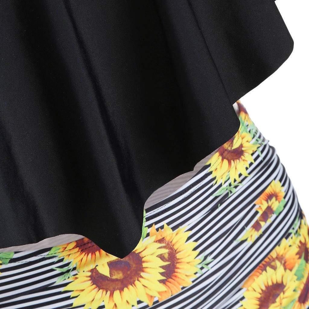 Theoylos Womens Bikini High Waisted Swimsuits Tummy Control Two Piece Tankini Ladies Ruffled Top Printing Bathing Suits