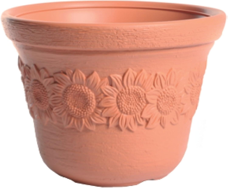Vase rond festonn/é /Ø couleur de r/ésine de 60cm Terracotta Double Edge