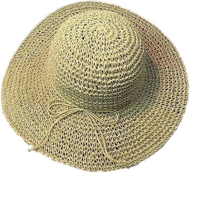 Gorros Gorro De Paja Plegable para Mujer Sombrero Ancho para Sol ...