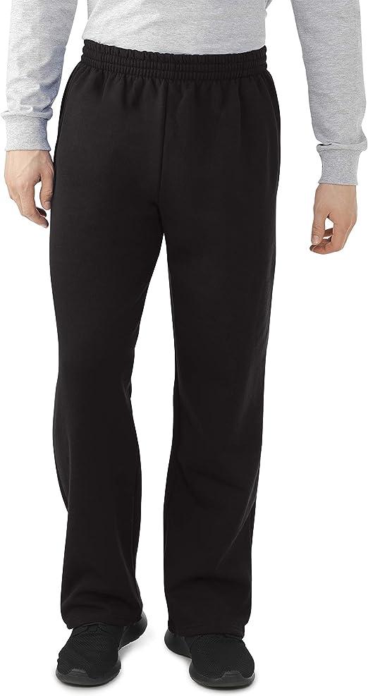 OPEN Bottom Elastic Waist Fleece Joggers Draw Cord Tie Extra Short Regular Pants