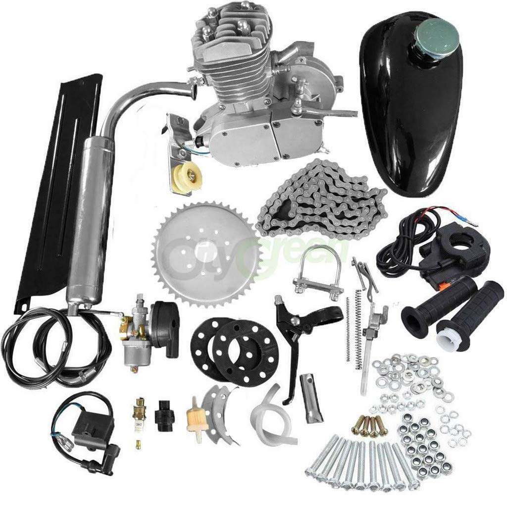 Wkgre Bike Engine Kit Stage Convert Bicycle Trike 2,4 Stroke 49,80cc Petrol Gas Motorized Engine Motor Kit Scooter Parts (A(80cc-2 Stroke))