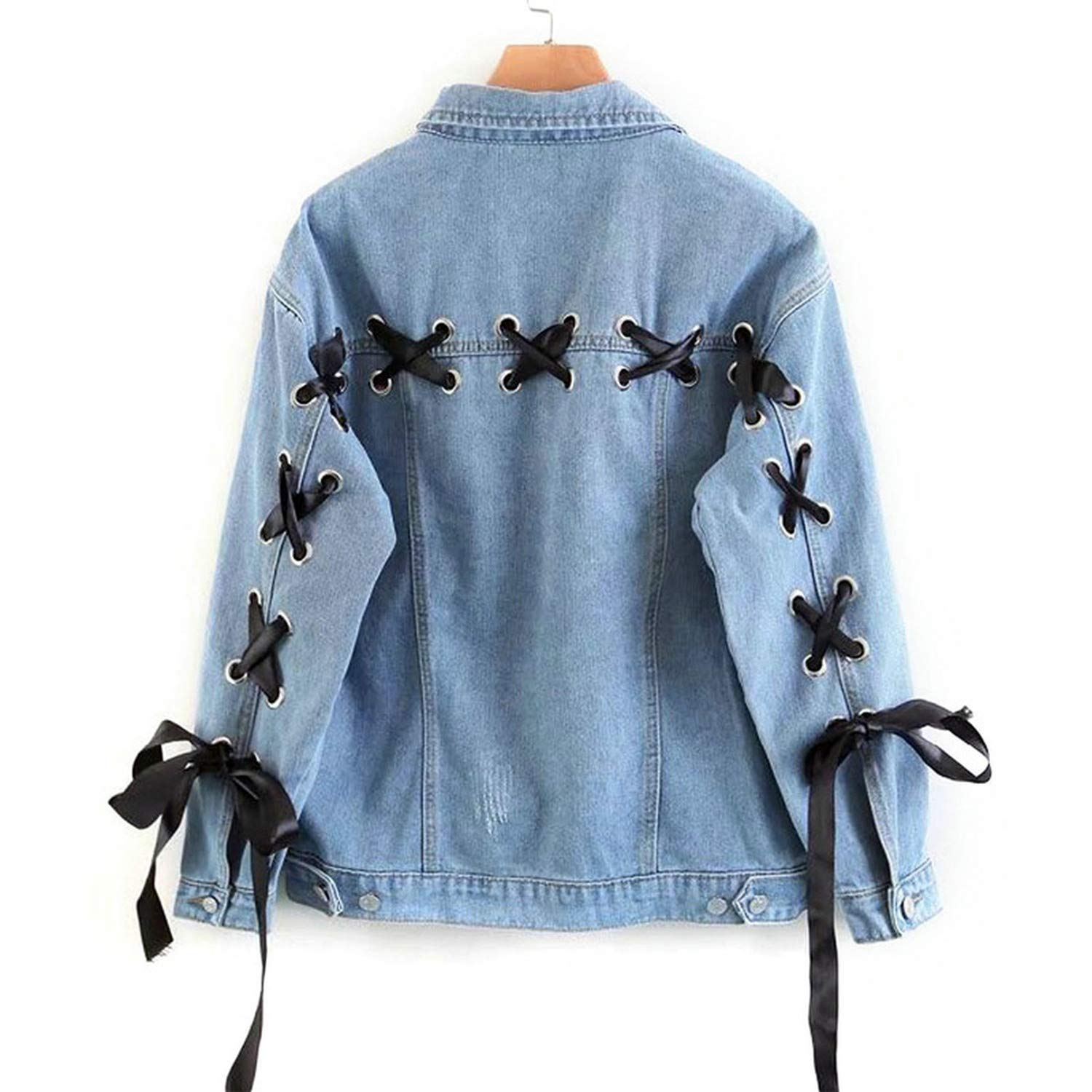 Stardust-shine Spring Classic Denim Jacket Single Breasted Casual Solid Women Loose Jean Coat