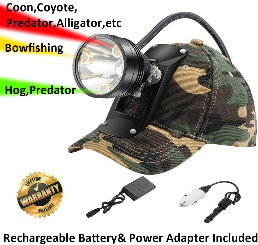 GearOZ Coyote Hog Coon Hunting Headlamp, 4 LED Lighting Modes Rechargeable 6 Position Switch Multiple Colors White Red Green Amber Bracket Hat