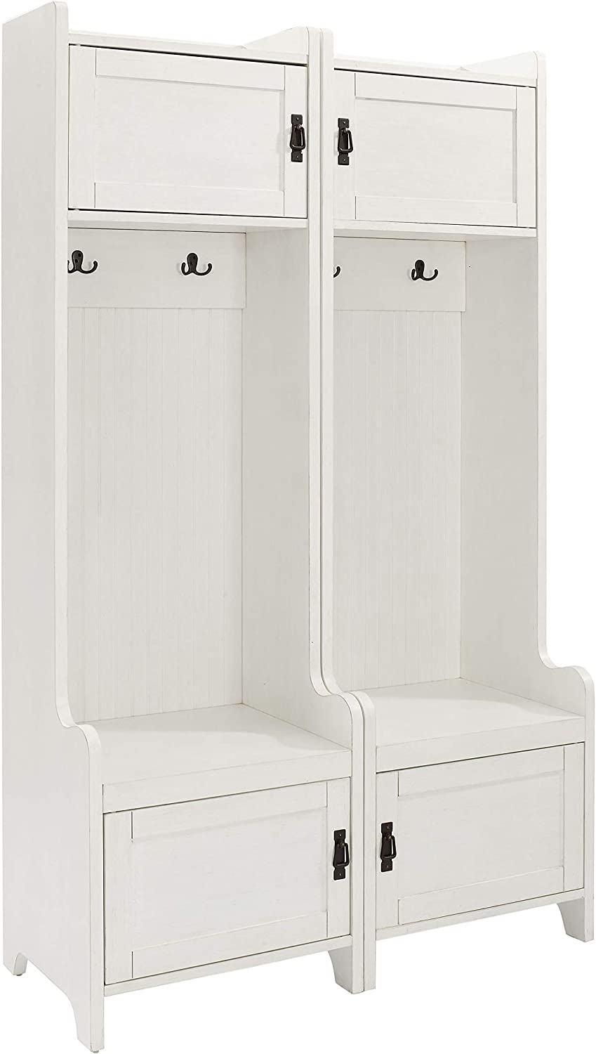 Crosley Furniture Fremont Tower Entryway Hall Tree with Storage (Set of 2), Distressed White