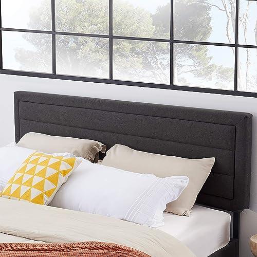 VECELO Upholstered Linen Fabric Surface,Metal Frame Woodboard Inner Sponge,Queen Headboard Dark Grey