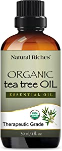 Organic Tea Tree Oil - Pure USDA Organic Certified Tea Tree Essential Oil for Acne, Hair, Skin and Scalp for Diffuser/Humidifier Aromatherapy Premium Quality Therapeutic – 1 fl oz. Natural Riches
