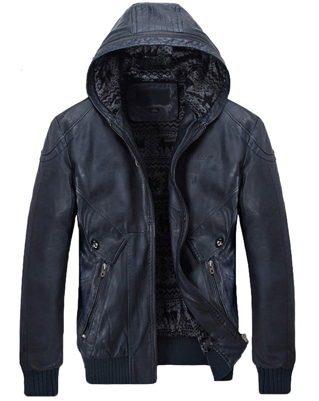 Chouyatou Men's Stylish Hooded Zip-Front Fleece Lined Moto PU Leather Bomber Jackets (Large, Dark Blue) by Chouyatou