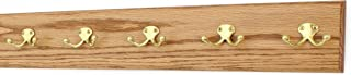 """product image for Oak Wall Mounted Coat Rack with Solid Brass Dual Style Hooks 4.5"""" Ultra Wide (Golden Oak, 25.5"""" x 4.5"""" with 5 Hooks)"""
